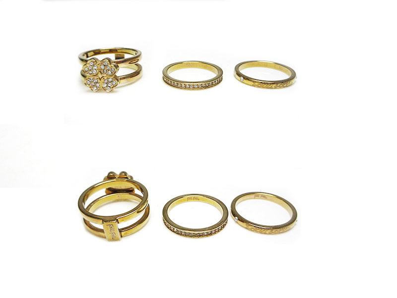フォリフォリ リング 指輪 3連 ゴールド ラインストーン クローバー #50 9号 中古 美品 folli follie アクセサリー ジュエリー 他 レディ_画像2
