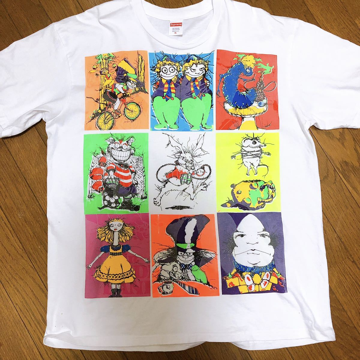 【新品 未着用】 choose me アリスマルチプリント T-shirt L Tシャツ Supreme 希少 白 不思議の国のアリス チェシャ猫プリントTシャツ_画像1