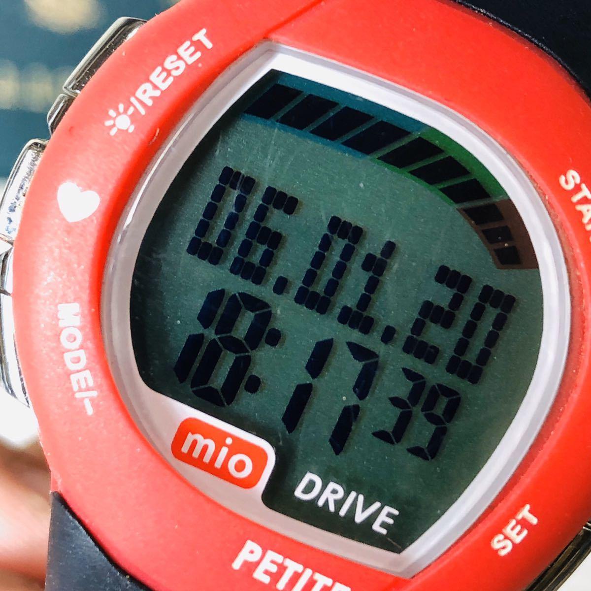 mio ミオ 腕時計 ブラック レッド DRIVE 心拍計 デジタル 稼動品 W1028_画像9