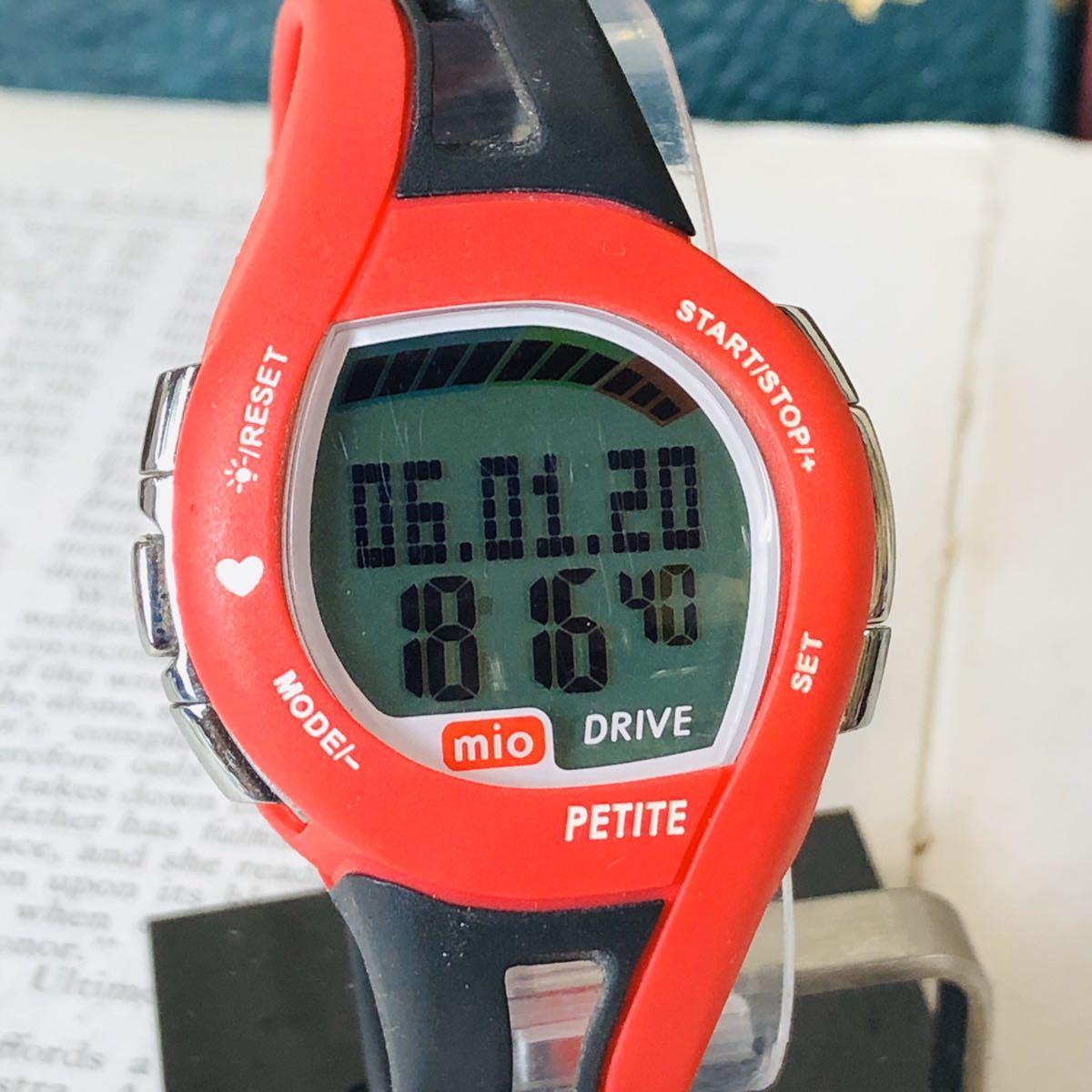 mio ミオ 腕時計 ブラック レッド DRIVE 心拍計 デジタル 稼動品 W1028_画像1