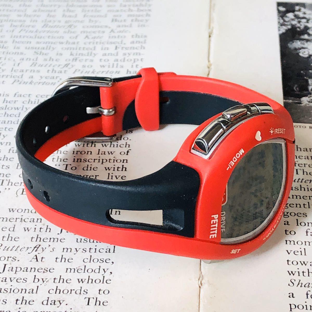 mio ミオ 腕時計 ブラック レッド DRIVE 心拍計 デジタル 稼動品 W1028_画像5