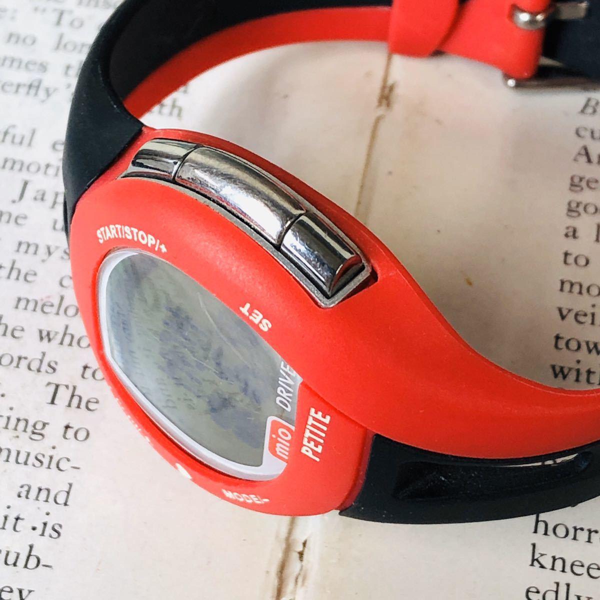 mio ミオ 腕時計 ブラック レッド DRIVE 心拍計 デジタル 稼動品 W1028_画像4
