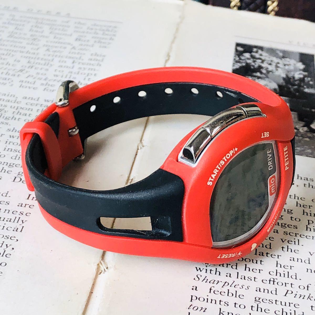 mio ミオ 腕時計 ブラック レッド DRIVE 心拍計 デジタル 稼動品 W1028_画像3