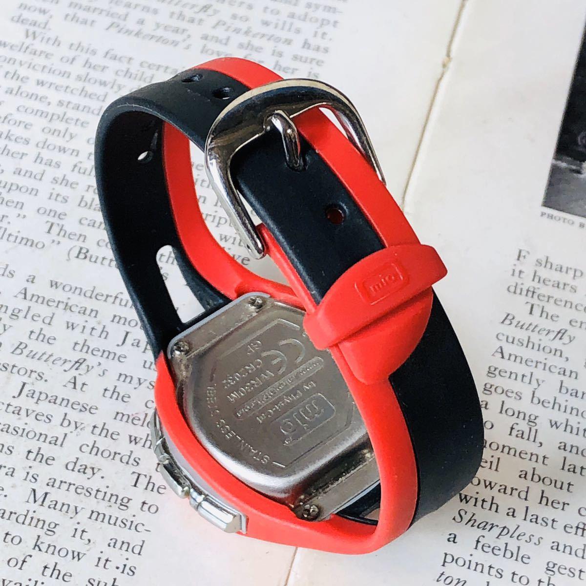 mio ミオ 腕時計 ブラック レッド DRIVE 心拍計 デジタル 稼動品 W1028_画像6