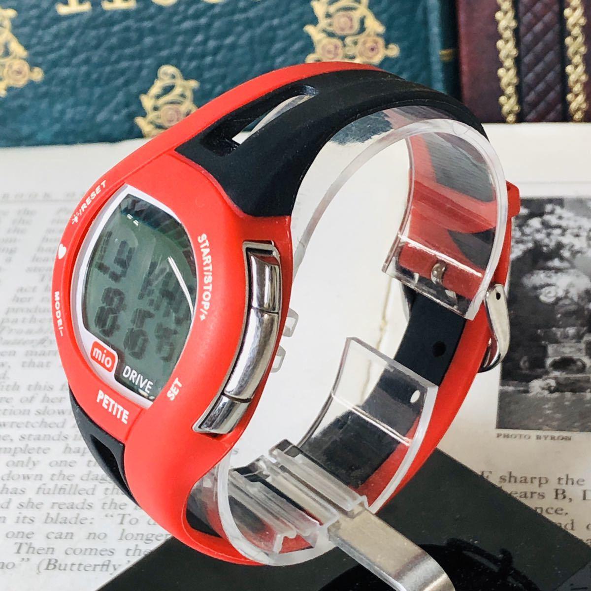 mio ミオ 腕時計 ブラック レッド DRIVE 心拍計 デジタル 稼動品 W1028_画像2