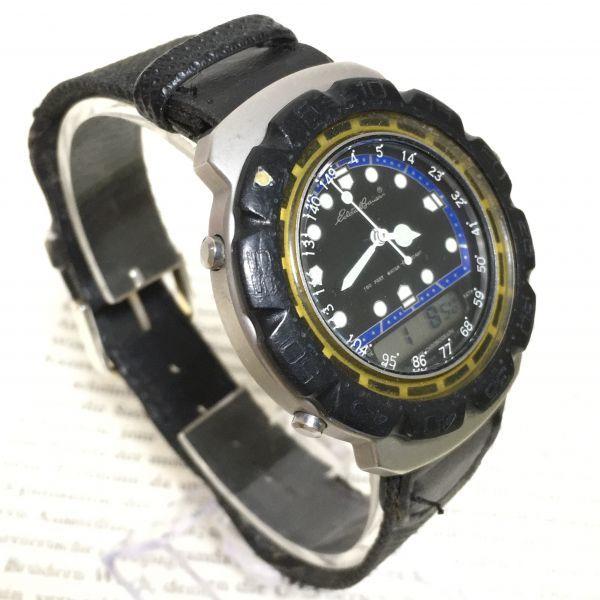 ★ Eddie Bauer デジアナ 多機能 腕時計 ★エディーバウアー 3針 アラーム クロノ 逆回転防止ベゼル レザーバンド 稼動品 F2335_画像3