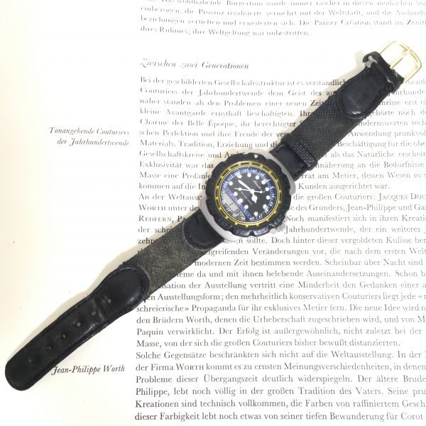 ★ Eddie Bauer デジアナ 多機能 腕時計 ★エディーバウアー 3針 アラーム クロノ 逆回転防止ベゼル レザーバンド 稼動品 F2335_画像7