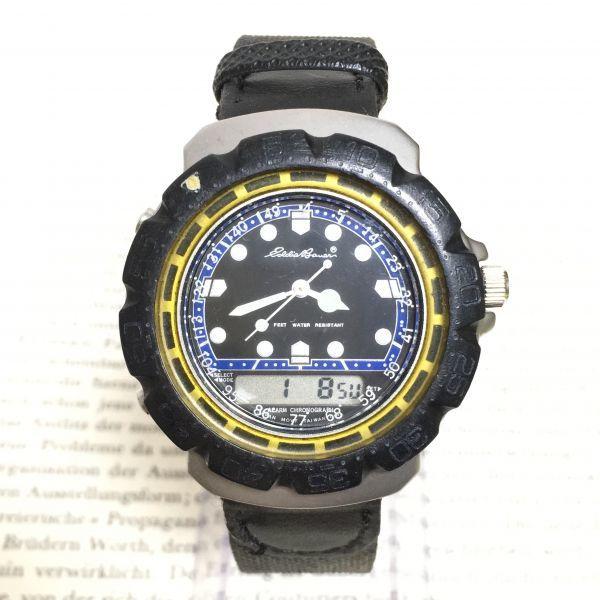 ★ Eddie Bauer デジアナ 多機能 腕時計 ★エディーバウアー 3針 アラーム クロノ 逆回転防止ベゼル レザーバンド 稼動品 F2335_画像1