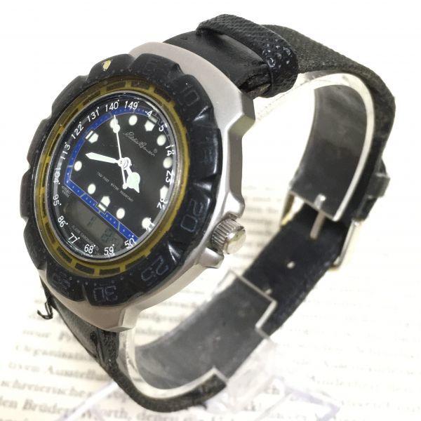 ★ Eddie Bauer デジアナ 多機能 腕時計 ★エディーバウアー 3針 アラーム クロノ 逆回転防止ベゼル レザーバンド 稼動品 F2335_画像2