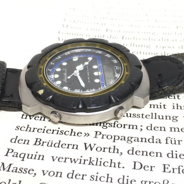 ★ Eddie Bauer デジアナ 多機能 腕時計 ★エディーバウアー 3針 アラーム クロノ 逆回転防止ベゼル レザーバンド 稼動品 F2335_画像5