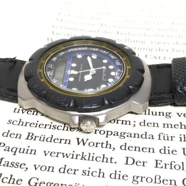 ★ Eddie Bauer デジアナ 多機能 腕時計 ★エディーバウアー 3針 アラーム クロノ 逆回転防止ベゼル レザーバンド 稼動品 F2335_画像6