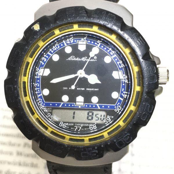 ★ Eddie Bauer デジアナ 多機能 腕時計 ★エディーバウアー 3針 アラーム クロノ 逆回転防止ベゼル レザーバンド 稼動品 F2335_画像4