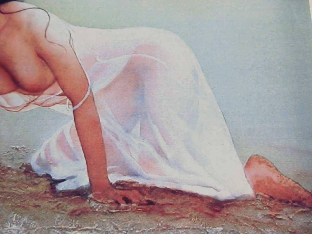 コレクター出品 西村春海作 人物画 リトグラフ シルクスクリーン 版画 はるかなる熱砂 24/150 美人画 直筆サイン入り_画像5