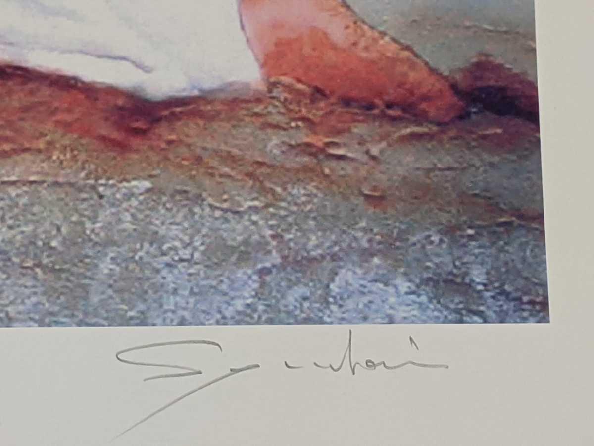 コレクター出品 西村春海作 人物画 リトグラフ シルクスクリーン 版画 はるかなる熱砂 24/150 美人画 直筆サイン入り_画像9