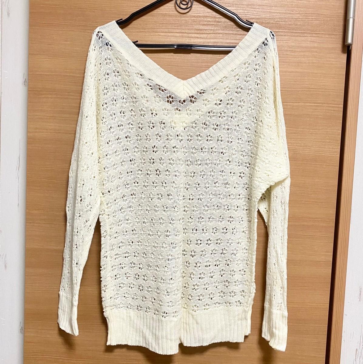 トップス カットソー 長袖 かぎ編み 透け感 シースルー M L レディース