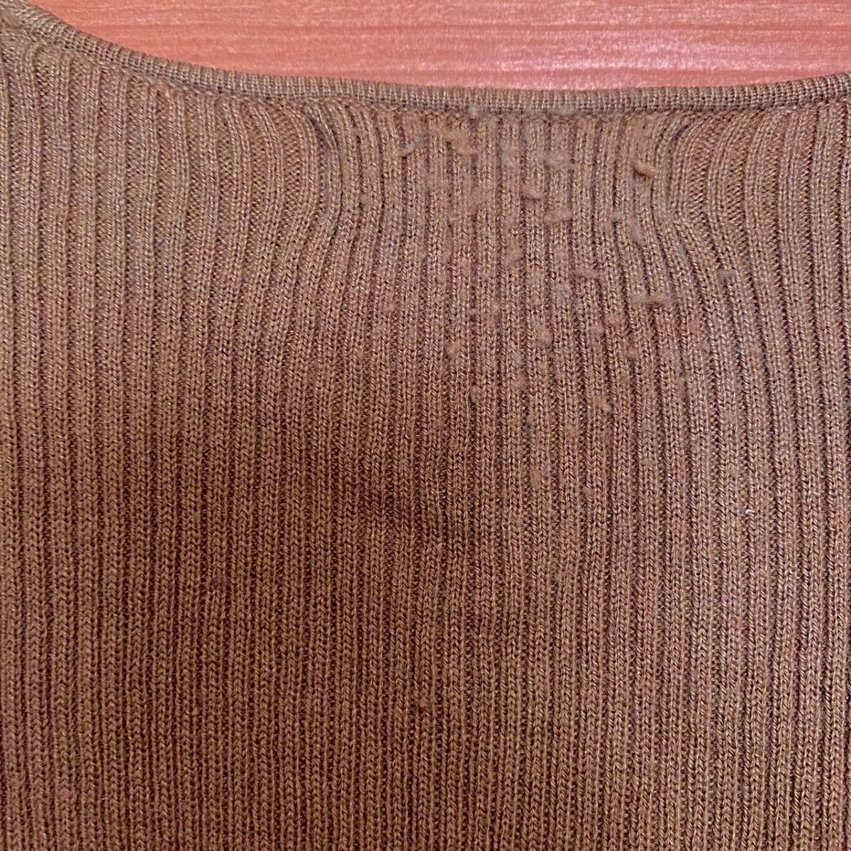 リブニット カットソー トップス 長袖 茶色 M レディース ブラウン 激安