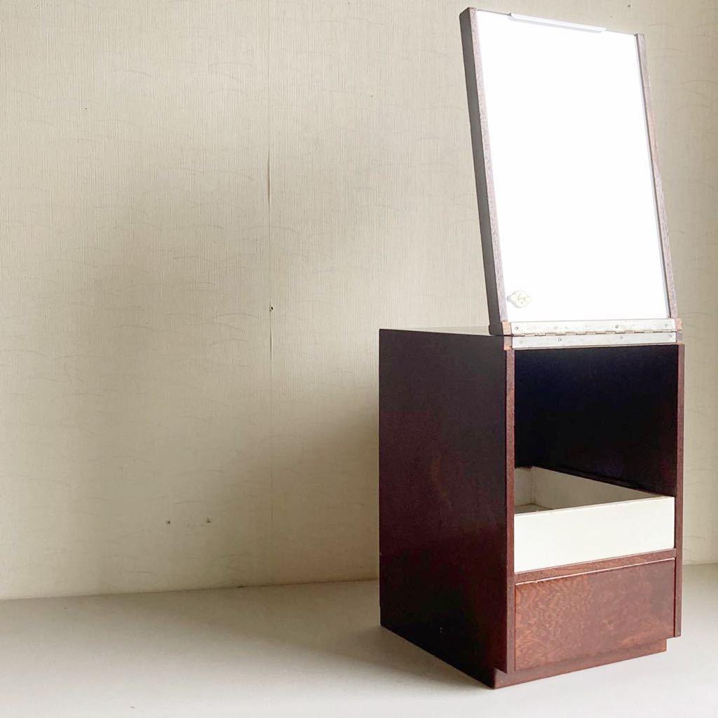 昭和レトロ 小さな 鏡台 古道具 小物入れ 化粧台 ミラー 折り畳み 引き出し _画像2