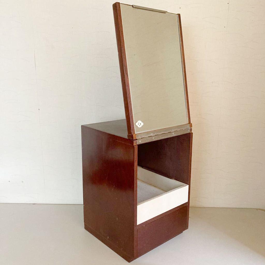 昭和レトロ 小さな 鏡台 古道具 小物入れ 化粧台 ミラー 折り畳み 引き出し _画像1