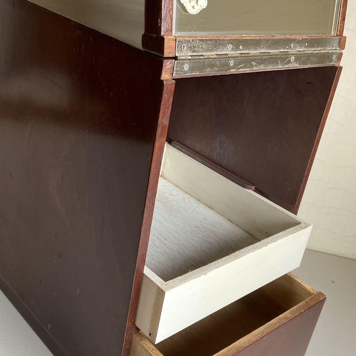 昭和レトロ 小さな 鏡台 古道具 小物入れ 化粧台 ミラー 折り畳み 引き出し _画像7
