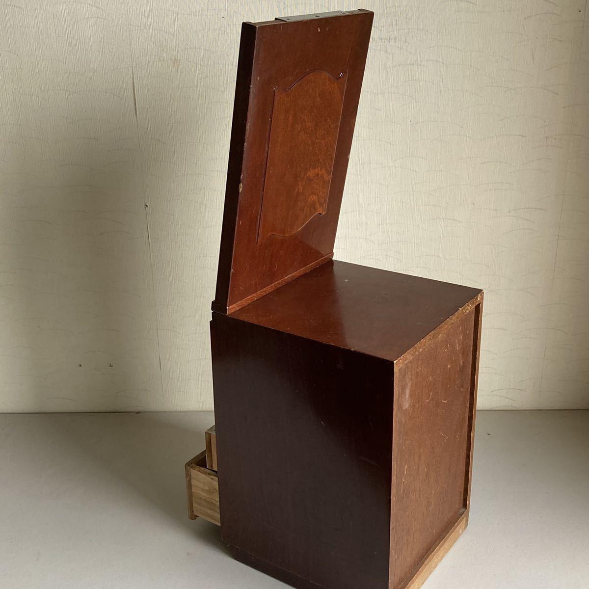 昭和レトロ 小さな 鏡台 古道具 小物入れ 化粧台 ミラー 折り畳み 引き出し _画像10