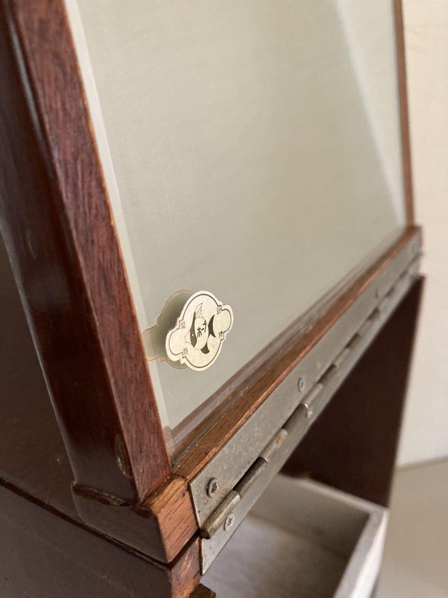 昭和レトロ 小さな 鏡台 古道具 小物入れ 化粧台 ミラー 折り畳み 引き出し _画像8