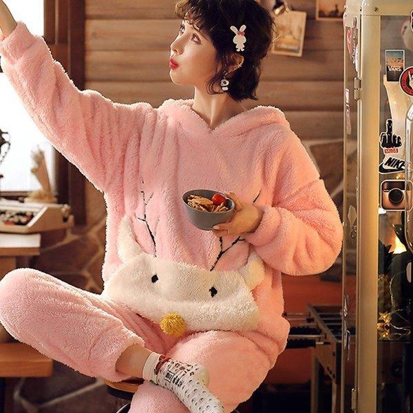 パジャマ レディース 冬 上下セット ふわもこパジャマ 寝巻き 裏起毛 帽付 ルームウェア モコモコ 部屋着 ふわふわ 厚手 長袖 あったか