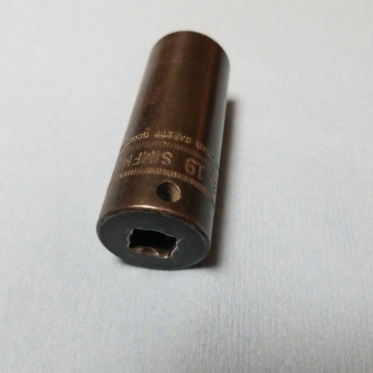 3/8 ディープ 19mm スナップオン インパクト ソケット SIMFML19 中古品 保管品 SNAP-ON SNAPON ディープソケット ソケットレンチ 旧ロゴ 6P_画像2