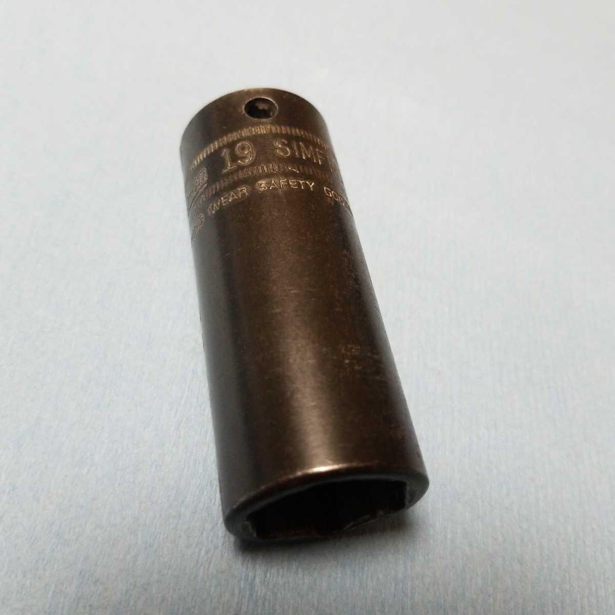 3/8 ディープ 19mm スナップオン インパクト ソケット SIMFML19 中古品 保管品 SNAP-ON SNAPON ディープソケット ソケットレンチ 旧ロゴ 6P_画像1