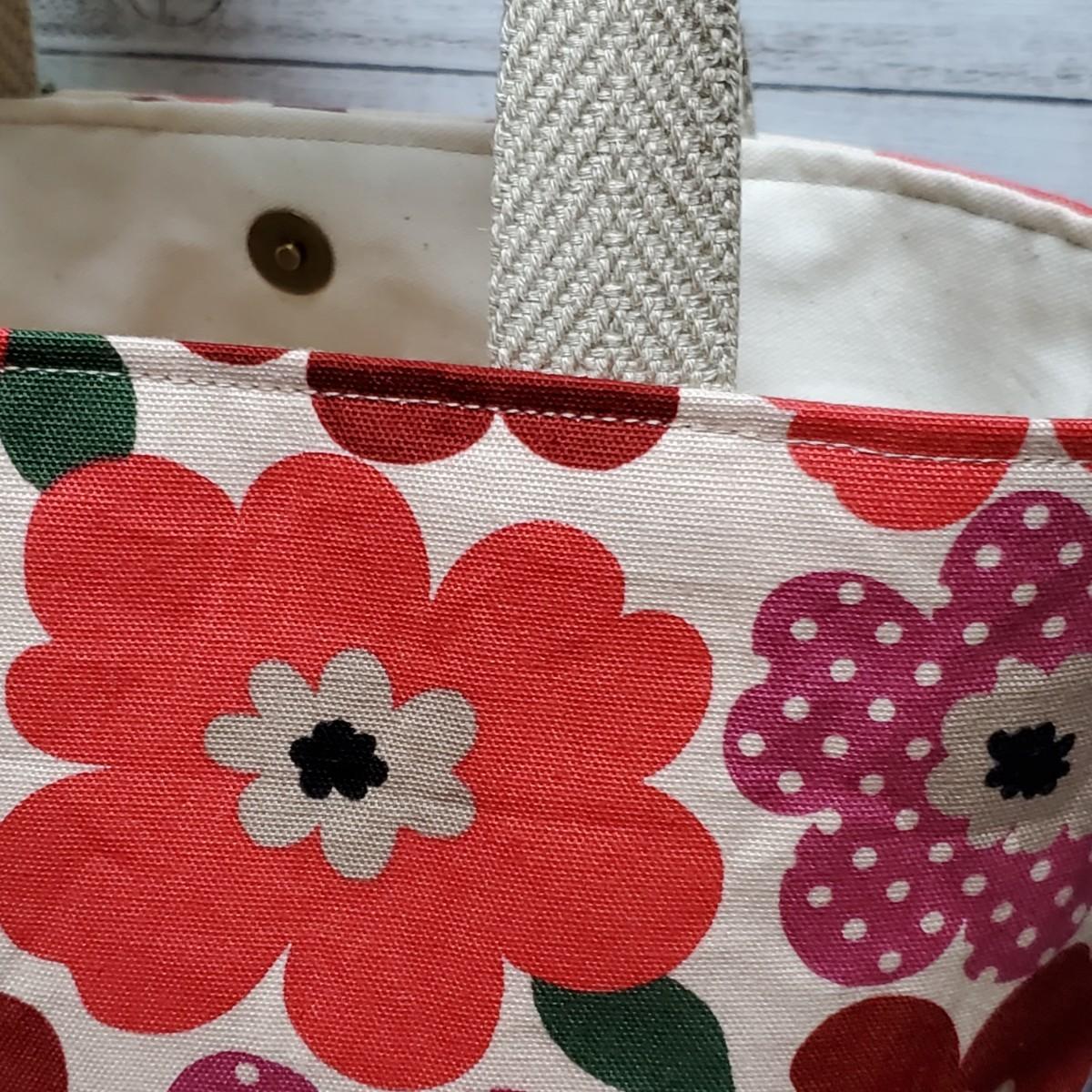 ミニトートバッグ『北欧柄 大きな花柄×ベージュ』