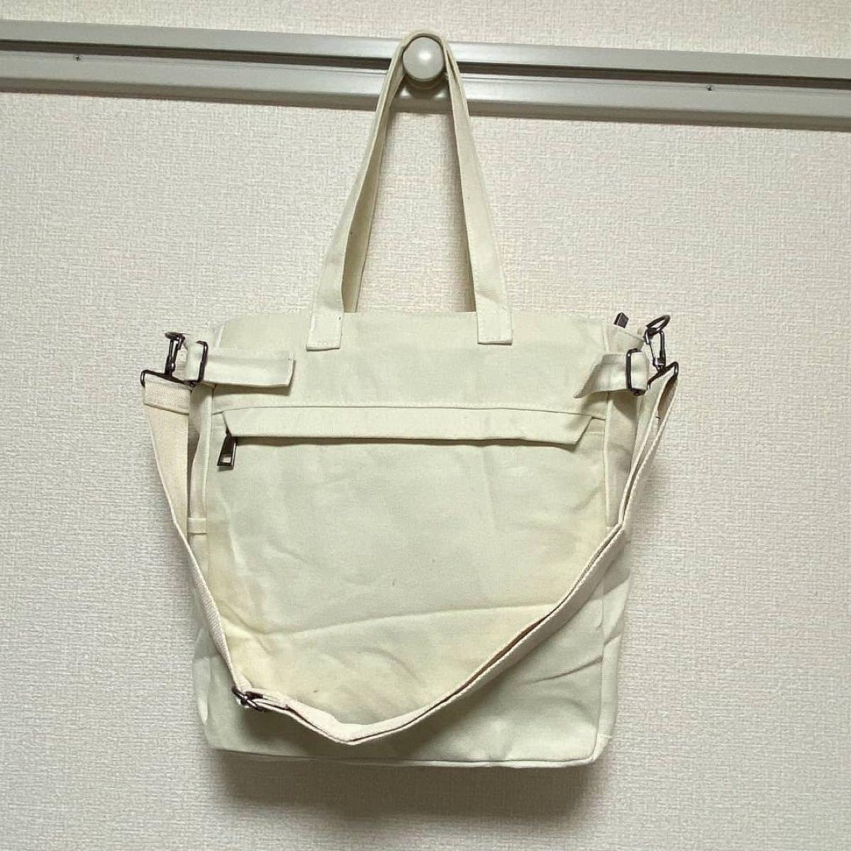 3way 帆布 トートバッグ ショルダーバッグ キャンバス 大容量 ホワイト
