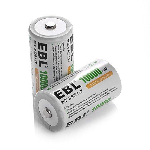 EBL 単1形 充電式ニッケル水素電池 2個入 電池保管ケース付き(容量10000mAh、約1200回使用可能) 懐中電灯、ガス_画像1