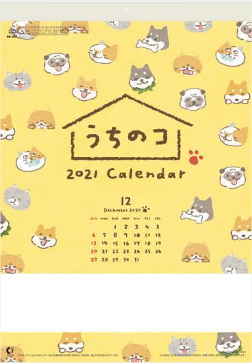 【即決】カレンダー 2021 壁掛け 猫 犬 書き込み うちのコ 可愛い コンパクトサイズカレンダー 小さいサイズ 壁掛けカレンダー _画像1