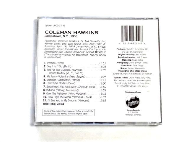 輸入盤 CD【UPCD27.45】Coleman Hawkins コールマン・ホーキンス / Jamestown N.Y. 1958 / 送料310円~_画像2