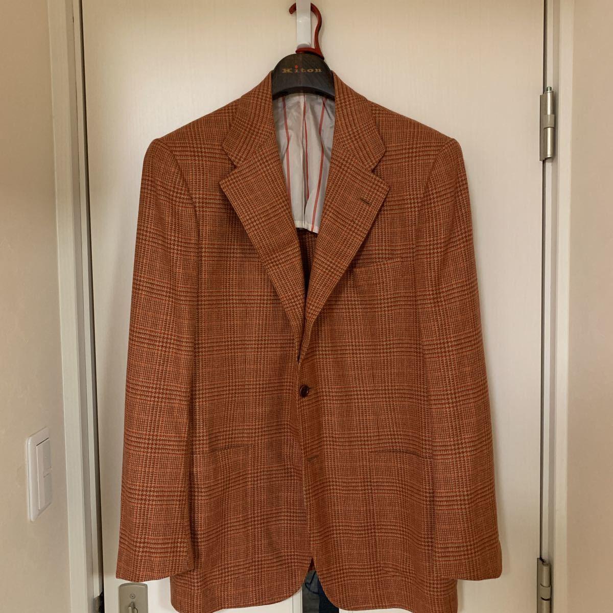 新品 キートン 52 カシミア 100% ジャケット オレンジ 橙色 ナポリ イタリア ビスポーク