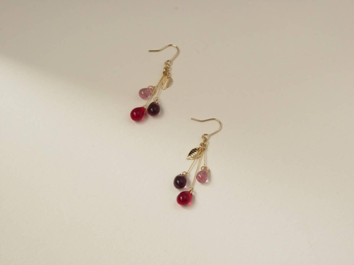 ◆◇雫の耳飾りピアス◇◆ ー赤い木の実ー ハンドメイド ビーズ 紫 葉 ドロップ_画像5