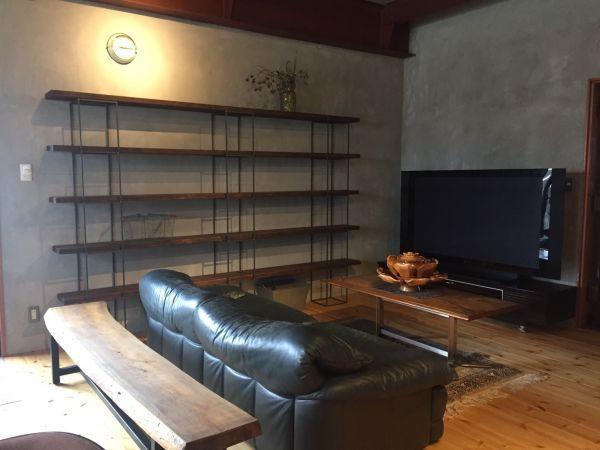 アイアンキューブフレーム 5段2個set シェルフ インダストリアル 店舗什器 ハンガーラック インダストリアル アンティーク 壁面 陳列棚_3個組み合わせた使用例です。
