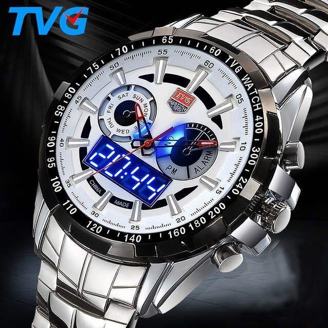 メンズ多機能クォーツ腕時計 防水デジタルスポーツウォッチ_画像1