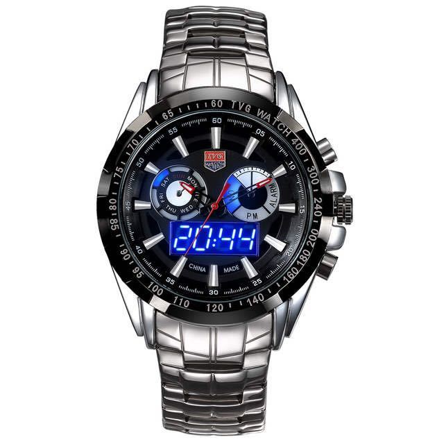 メンズ多機能クォーツ腕時計 防水デジタルスポーツウォッチ_画像2