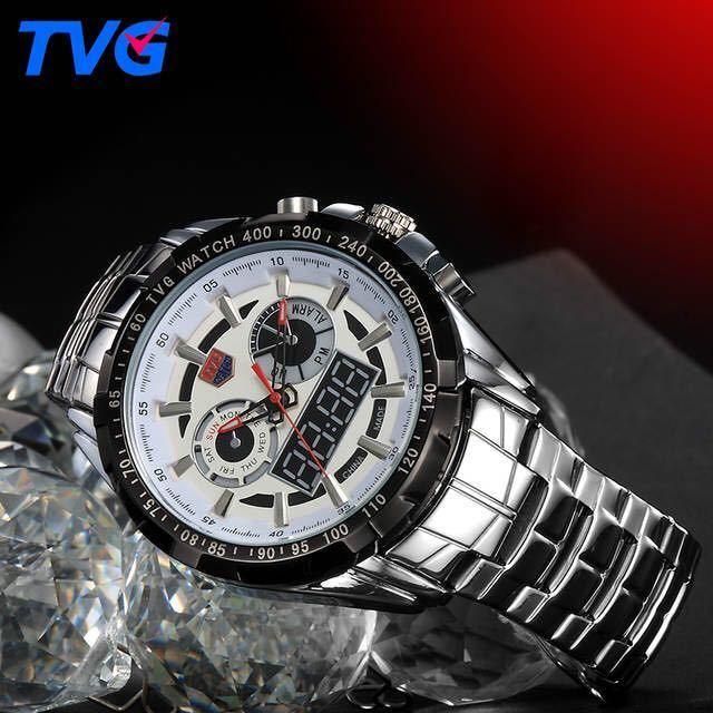 メンズ多機能クォーツ腕時計 防水デジタルスポーツウォッチ_画像3