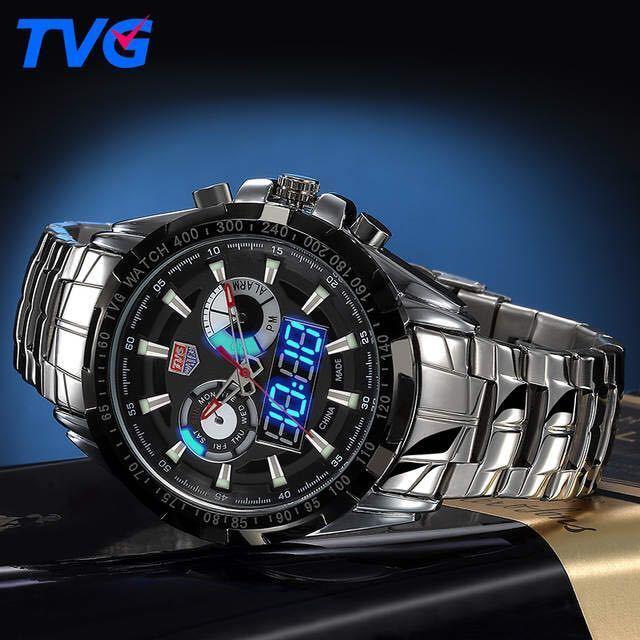 メンズ多機能クォーツ腕時計 防水デジタルスポーツウォッチ_画像4