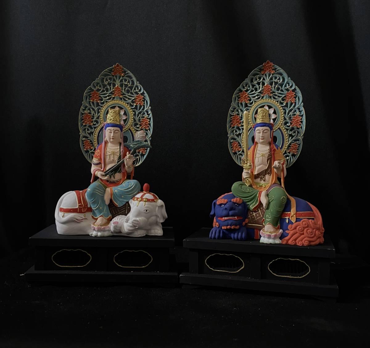 総柘植材 仏教工芸品 彩繪 本金 切金 木彫仏教 精密彫刻 極上品 仏師で仕上げ品 文殊菩薩、普賢菩薩座像