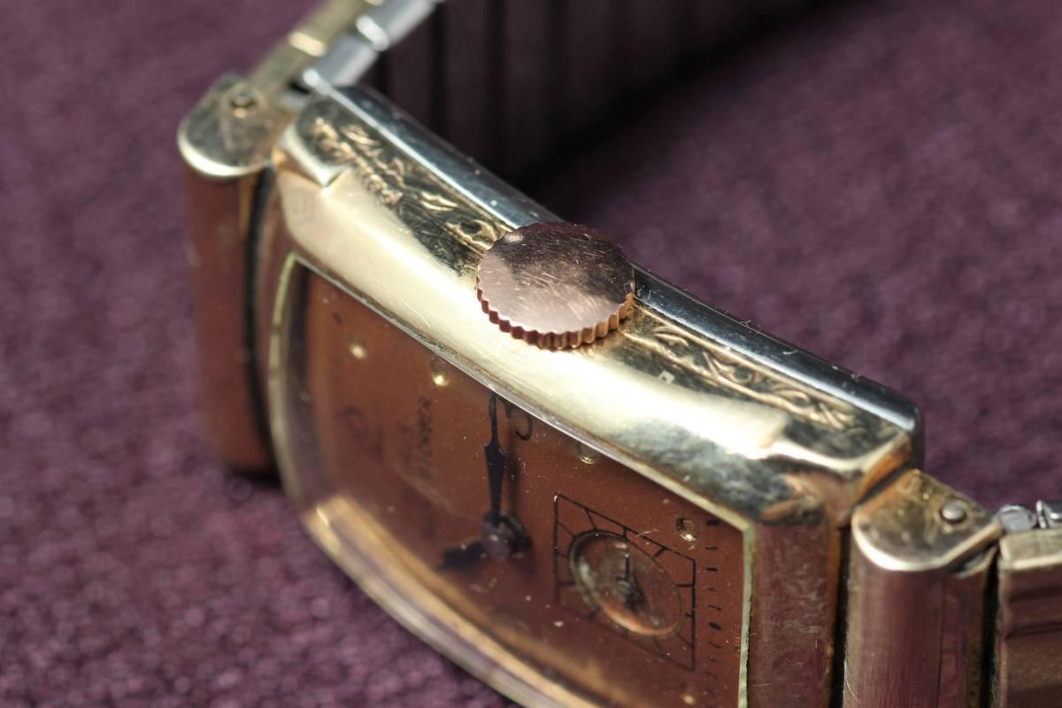 ☆BENRUS 10金 RGP スクエア アールデコ ファンシー エクステンションベルト スモセコ 手巻き 時計 腕時計 ヴィンテージ 動作品 スイス製_画像8