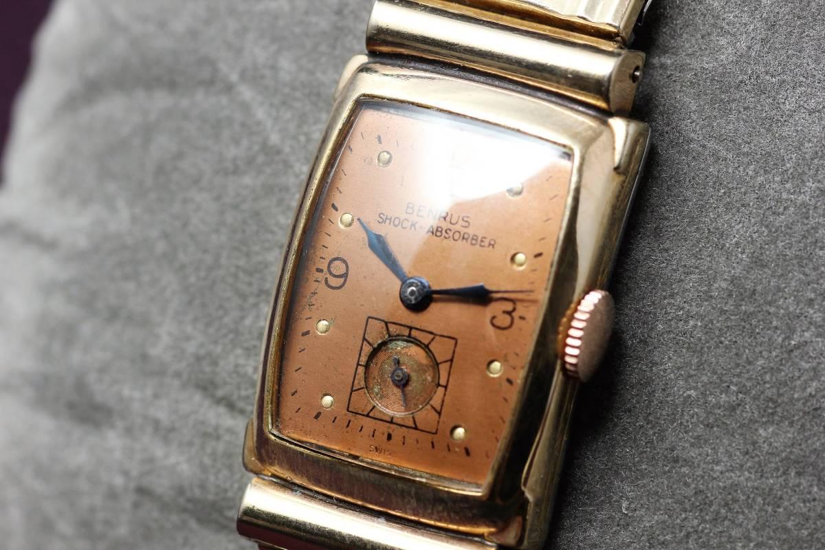☆BENRUS 10金 RGP スクエア アールデコ ファンシー エクステンションベルト スモセコ 手巻き 時計 腕時計 ヴィンテージ 動作品 スイス製_画像2