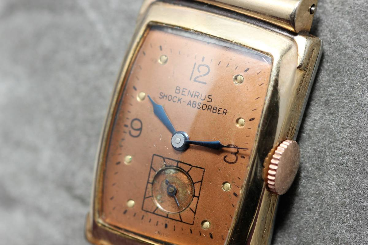 ☆BENRUS 10金 RGP スクエア アールデコ ファンシー エクステンションベルト スモセコ 手巻き 時計 腕時計 ヴィンテージ 動作品 スイス製_画像6