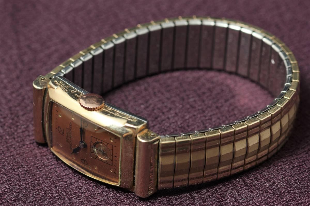 ☆BENRUS 10金 RGP スクエア アールデコ ファンシー エクステンションベルト スモセコ 手巻き 時計 腕時計 ヴィンテージ 動作品 スイス製_画像7
