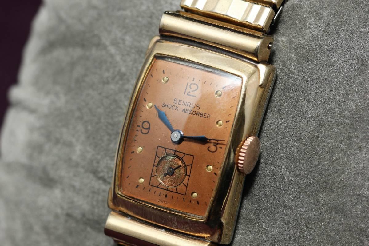 ☆BENRUS 10金 RGP スクエア アールデコ ファンシー エクステンションベルト スモセコ 手巻き 時計 腕時計 ヴィンテージ 動作品 スイス製_画像5