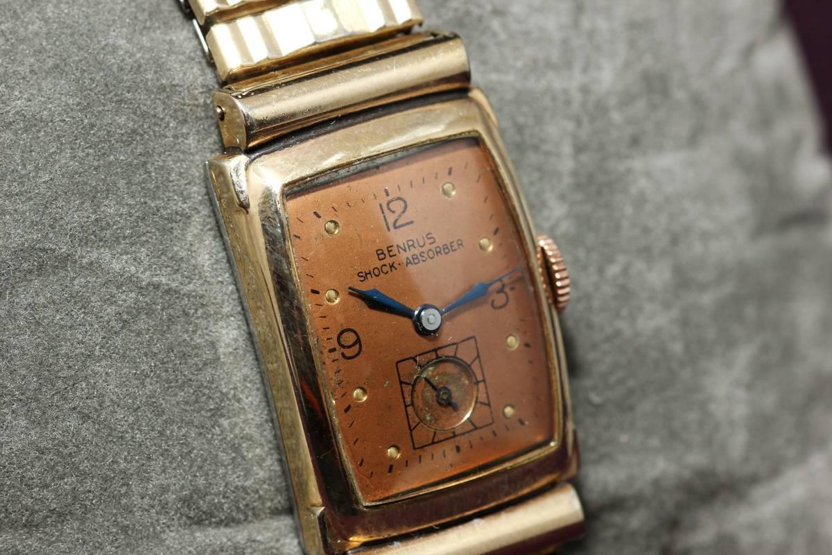 ☆BENRUS 10金 RGP スクエア アールデコ ファンシー エクステンションベルト スモセコ 手巻き 時計 腕時計 ヴィンテージ 動作品 スイス製_画像4