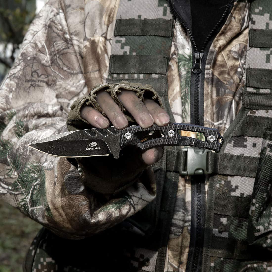 【送料無料】MOSSY OAK ナイフ シースナイフ フルタング構造 全長190mm G10ハンドル 【ケース付き】 黒 ブラック