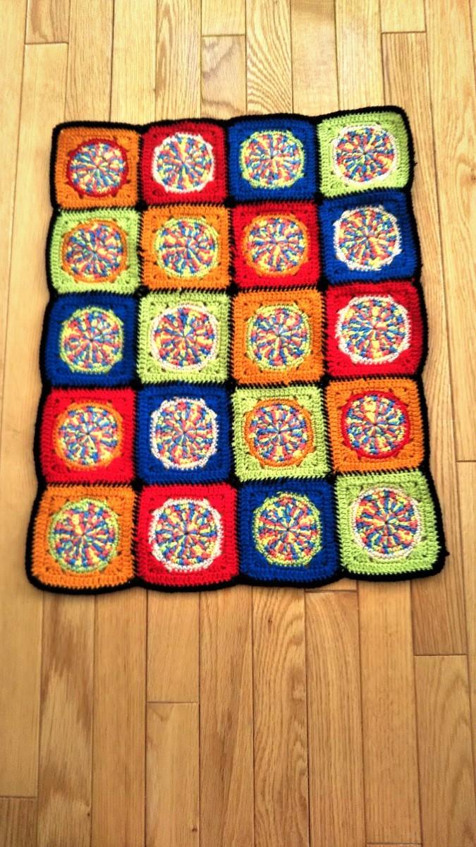 モチーフ ひざ掛け かぎ針編み