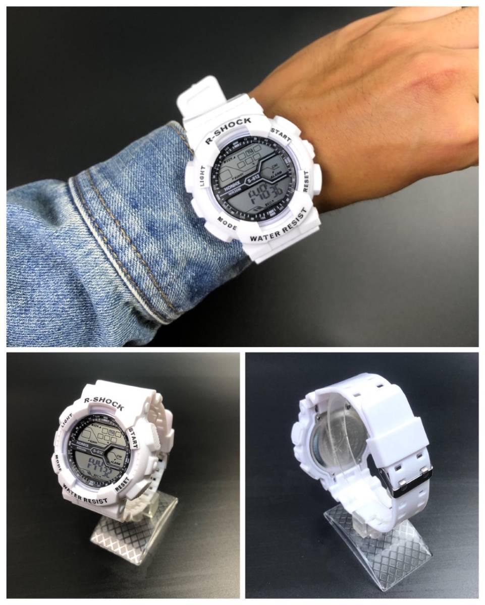 スポーツ腕時計 LED デジタル 腕時計 時計 ミリタリー 耐久性 スポーツ アウトドア キャンプ 男女兼用 ランニング  ホワイト 21 _画像2
